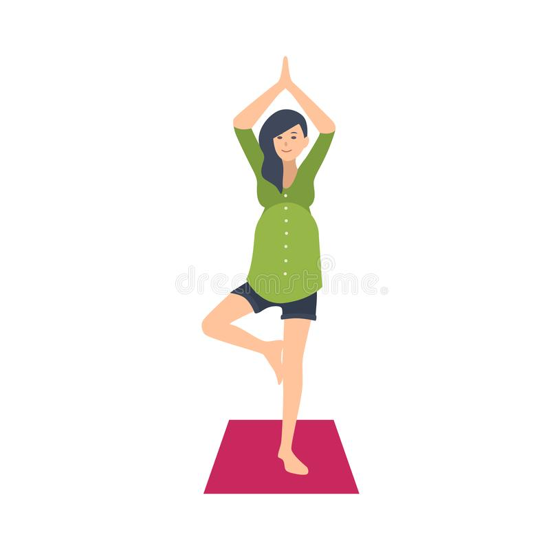 Praktiserande yogaövning för gullig gravid kvinna Förtjusande väntande barnfödelse för kvinnligt tecken som utför gymnastik stock illustrationer