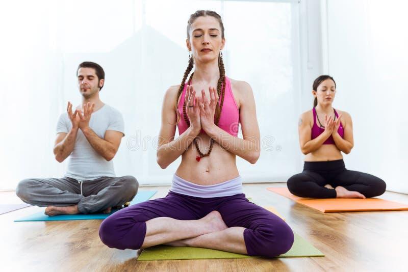 Praktiserande yoga för grupp människor hemma i lotusblommapositionen royaltyfri bild