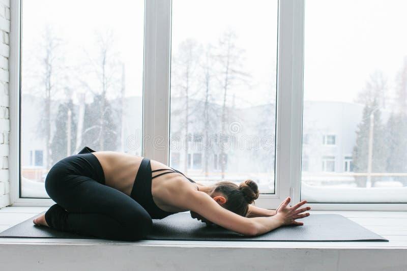 Praktiserande yoga för ung härlig kvinna och gymnastiskt Wellnessbegrepp Grupper i enkla sportar royaltyfria bilder