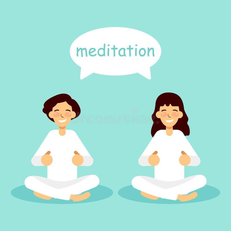 Praktiserande yoga för ung kvinna och för man vektor illustrationer
