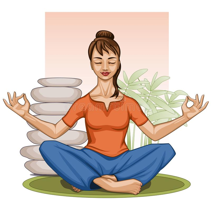 Praktiserande yogameditation för ung indisk kvinna, med stenar och grönska stock illustrationer