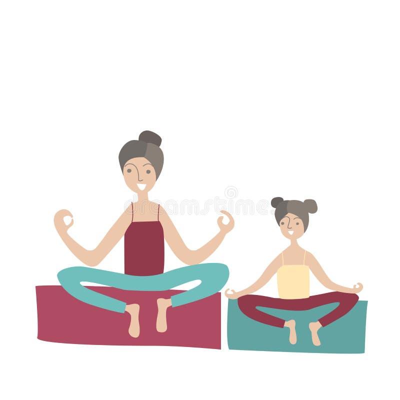 Praktiserande yogasammanträde för moder och för dotter i den Lotus positionen Familjsportar och fysisk aktivitet med barn royaltyfri illustrationer