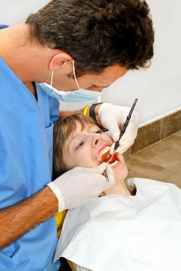 Praktizierender Zahnarzt lizenzfreie stockfotografie