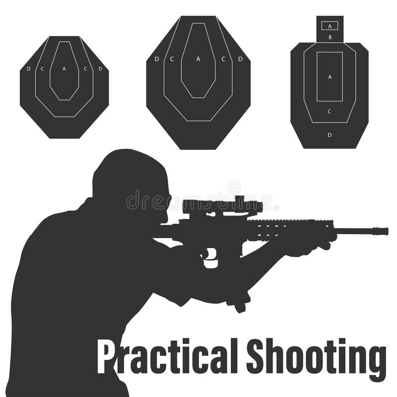 Praktyczni strzelanina karabinu i mężczyzna cele ilustracyjni ilustracja wektor