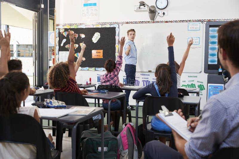 Praktykanta nauczyciela uczenie jak uczy podstawowych uczni zdjęcia royalty free