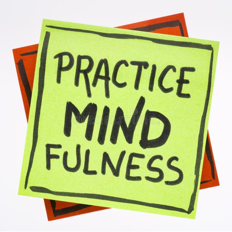 Praktyki mindfulness przypomnienia notatka obraz stock