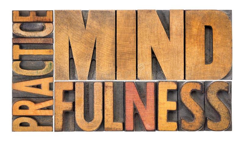 Praktyki mindfulness słowa abstrakt obraz stock