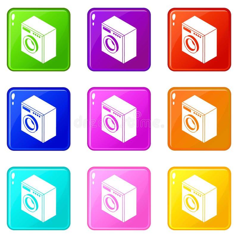 Pralek ikony ustawiają 9 kolorów kolekcję ilustracji