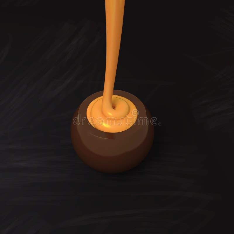 Praline de chocolat au lait avec le remplissage crème de caramel sur le tableau noir illustration de vecteur