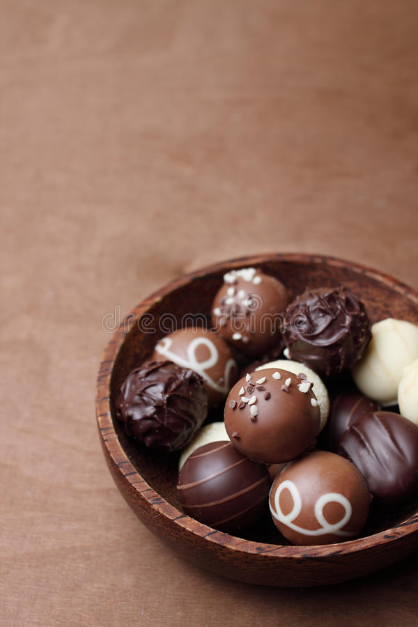 Pralines in a bowl stock photography