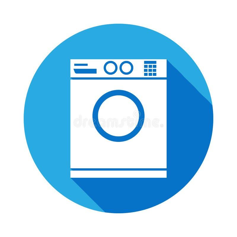 pralki ikona z długim cieniem Łazienki i sauna elementu ikona z długim cieniem Znaki, konturów symboli/lów inkasowa ikona fo royalty ilustracja