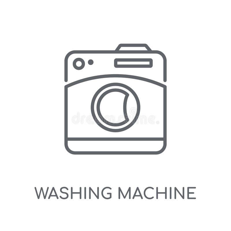 Pralki liniowa ikona Nowożytny kontur pralki logo royalty ilustracja