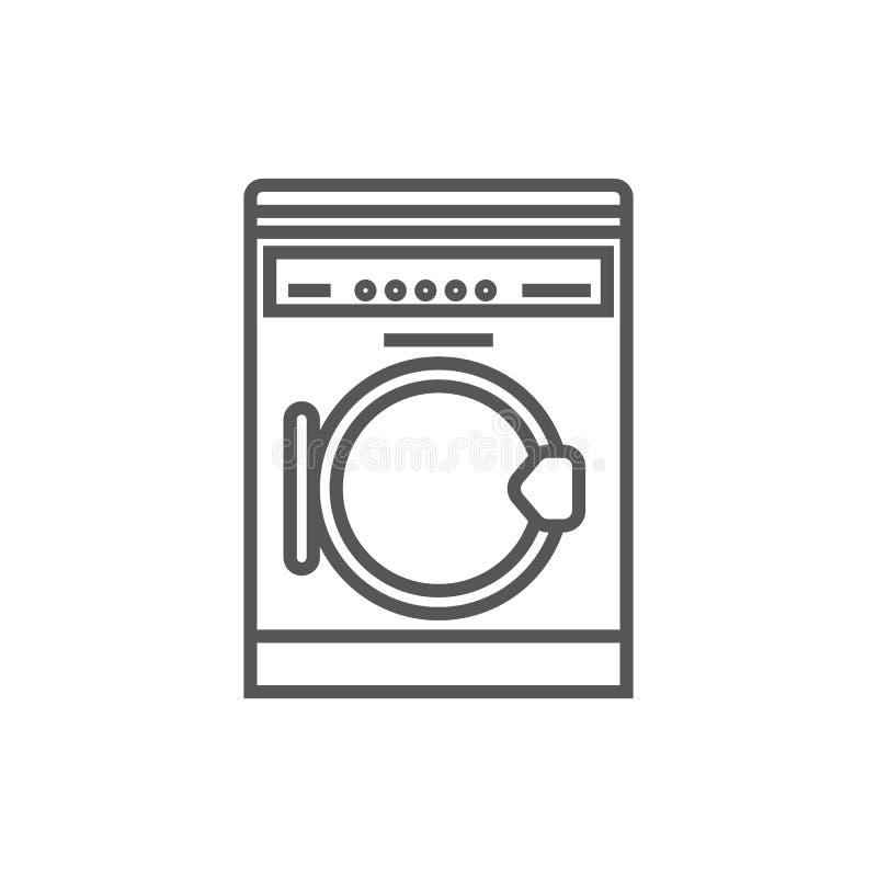 Pralki odosobniona ikona w liniowym stylu ilustracji