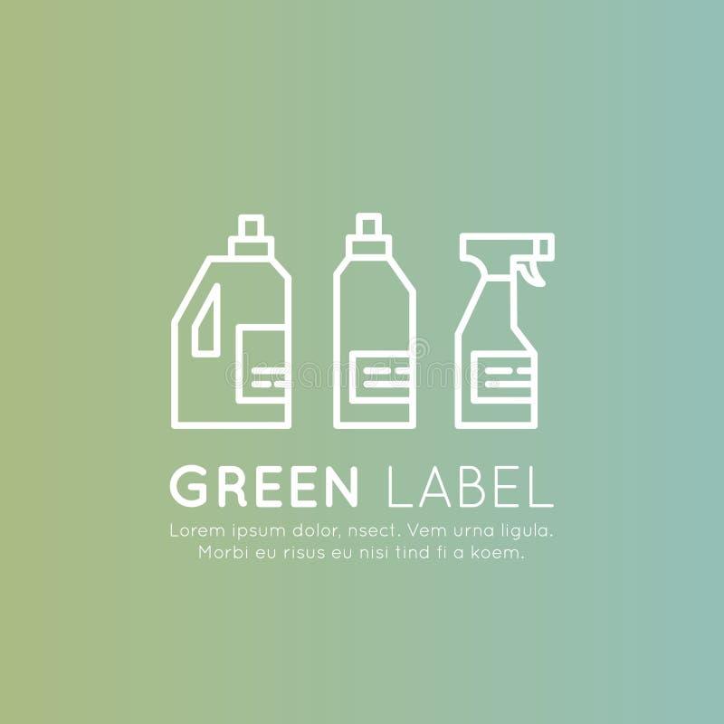 Pralni i Cleaning ciecza butelki, ECO zieleni składniki, Naturalni produkty, Ekologicznie Życzliwi ilustracji