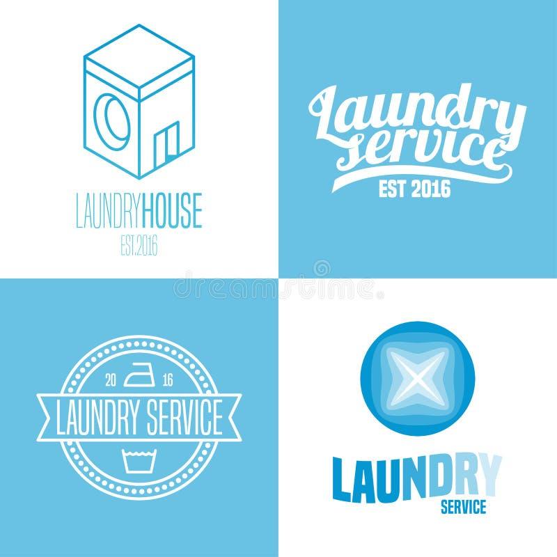 Pralnia, myje usługa set wektorowy logo, ikona, symbol, emblemat royalty ilustracja