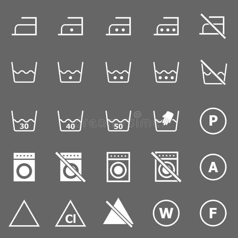 Pralniane ikony na szarym tle ilustracja wektor