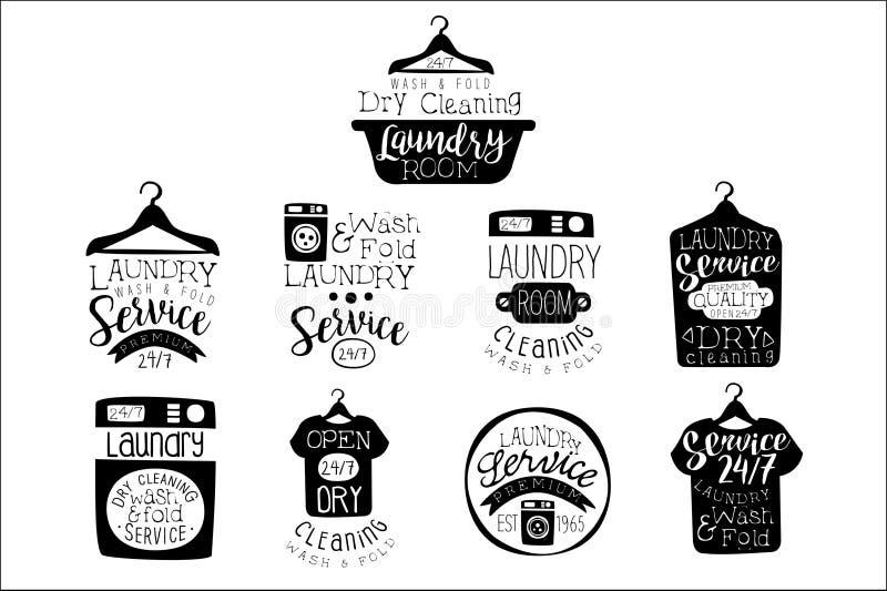 Pralnianego pokoju etykietki Czarny I Biały set royalty ilustracja