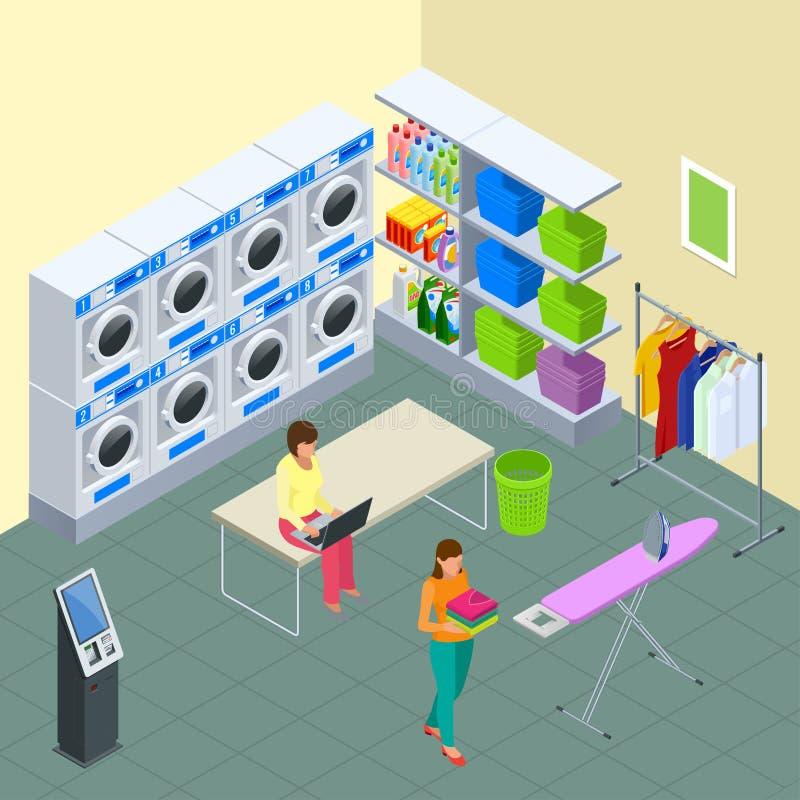 Pralnianej usługa i suchego cleaning pojęcie Rząd przemysłowe pralniane maszyny w laundromat Żelazo, prasowanie deska i ilustracji