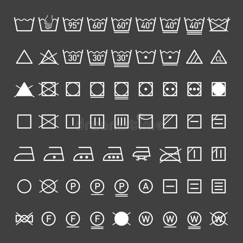 Pralniani symbole inkasowi royalty ilustracja