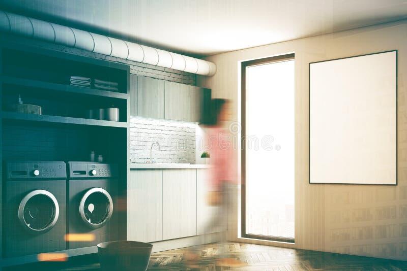 Pralniany pokój, szare pralki, plakat, dziewczyna ilustracja wektor