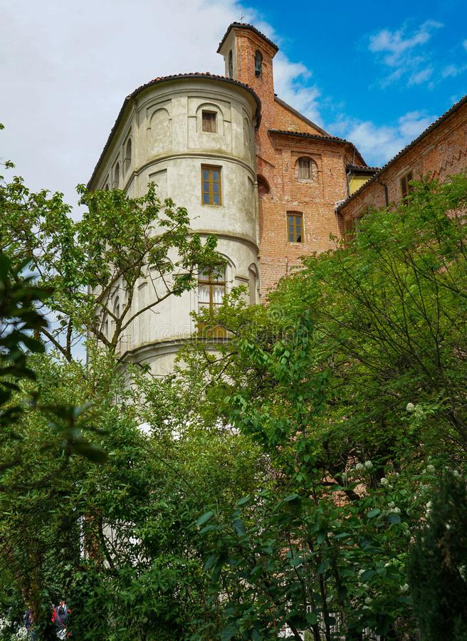 A view of the majestic Pralormo castle. Pralormo Piedmont Italy The Beraudo Castle of Pralormo, whose first construction dates back to the 13th century as part stock photography