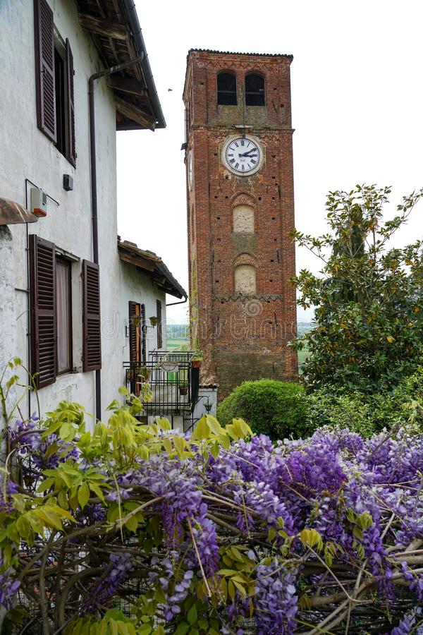 The tower of the village of Pralormo with wisteria royalty free stock image