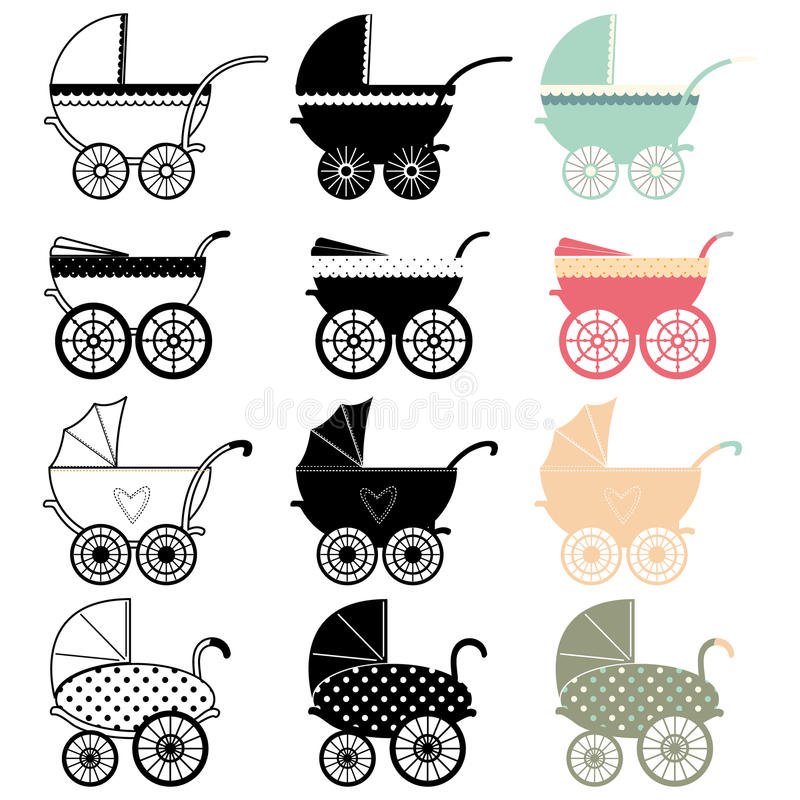 Pram детской сидячей коляски иллюстрация штока
