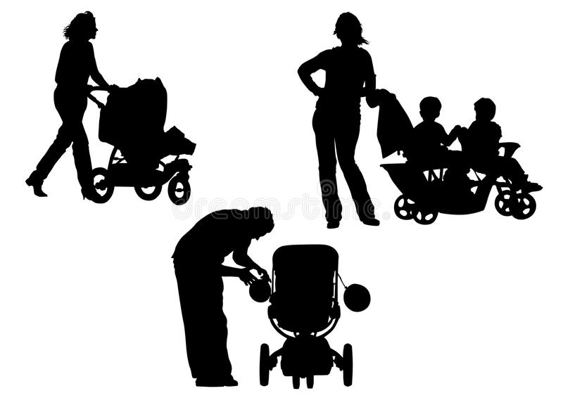 Download Pram stock vector. Image of family, painting, child, girls - 10302779