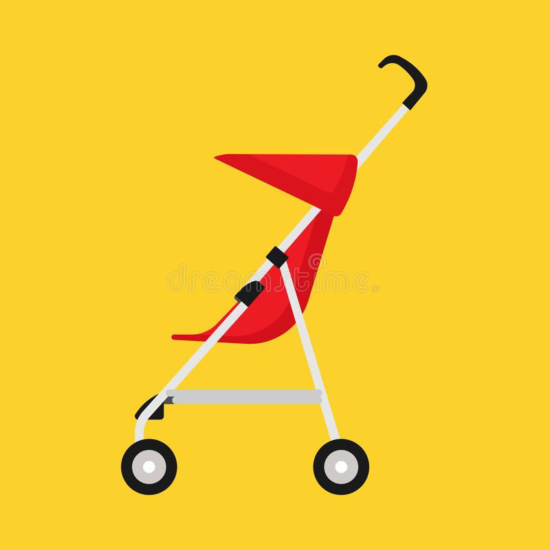 Pram child red carriage vector icon side view. Baby childhood buggy stroller. Toddler wheel flat transportation mom vector illustration