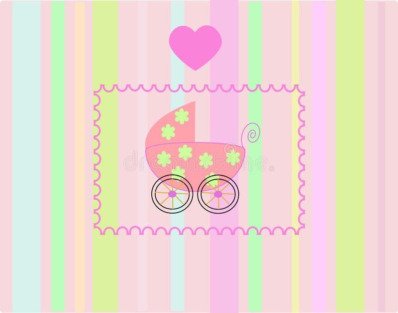 Pram für neugeborenes Mädchen. stock abbildung