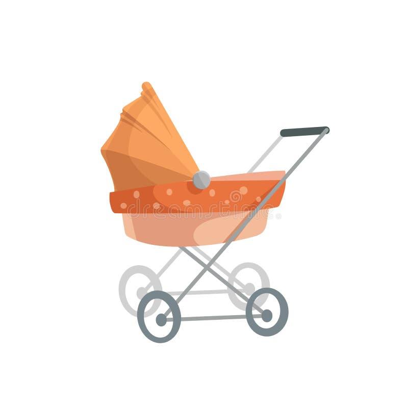 Pram na moda da cama de bebê do projeto dos desenhos animados Ilustração retro do vetor do transporte da criança ilustração royalty free