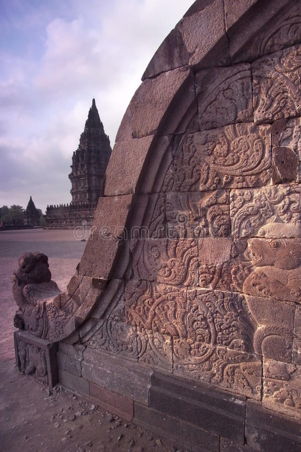 Prambanan Balustrade Bas-relief, Java, Indonesia Royalty Free Stock Images