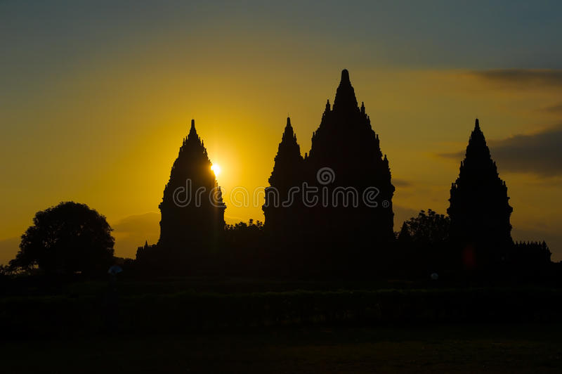 Prambanan Tempel am Sonnenuntergang, Java, Indonesien stockbild