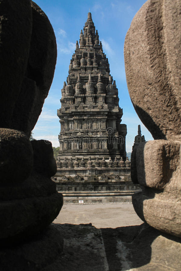 Prambanan Temple. The Prambanan temple is the largest Hindu temple of ancient Java, and the first building was completed in the mid-9th century stock photography