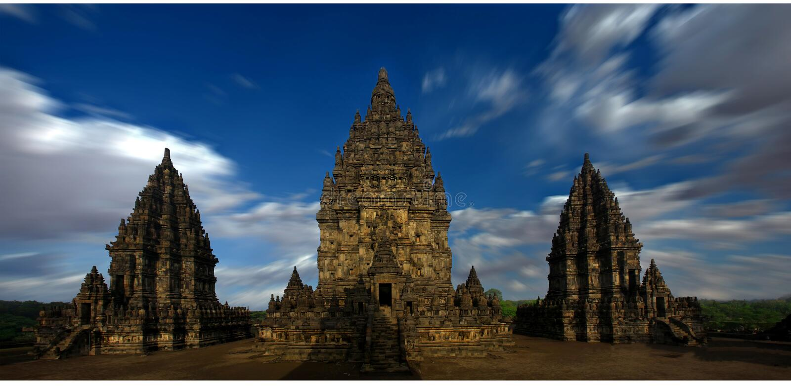 Prambanan Temple vie at Yogyakarta Indonesia. Clear bright at Prambanan is a hindhu temple at yogyakarta Indonesia royalty free stock image