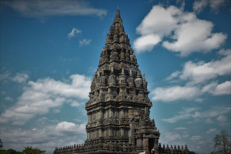 Prambanan Temple Yogyakarta city, central java. Prambanan Temple or also known as Lara Jonggrang Temple is the largest Hindu temple complex in Indonesia. It is stock image