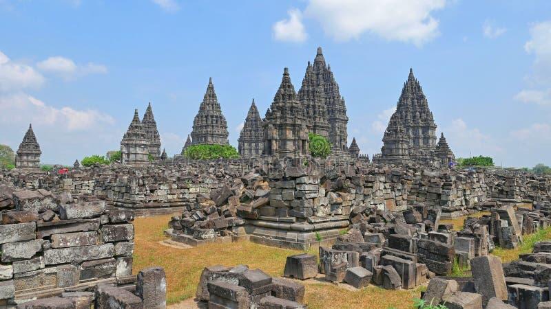 Prambanan - templo hindu em Indonésia fotos de stock royalty free