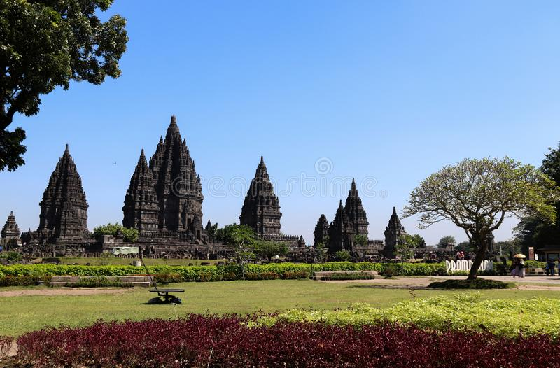 Prambanantempel dichtbij Yogyakarta op het eiland Indonesië van Java stock foto's