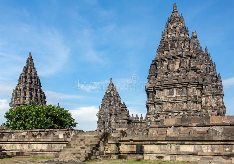 Prambanantempel dichtbij Yogyakarta op het eiland van Java stock afbeelding