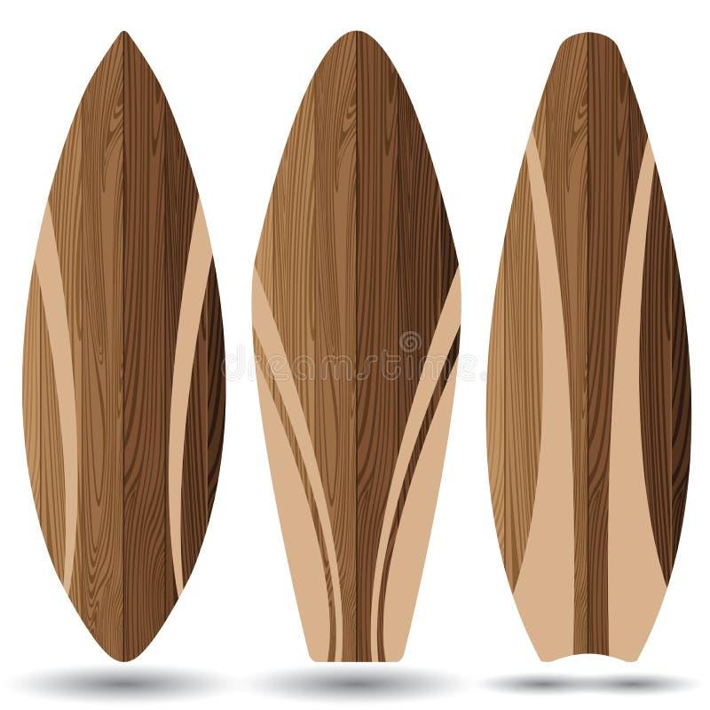 Prancha de madeira no fundo branco Placas de ressaca ilustração stock