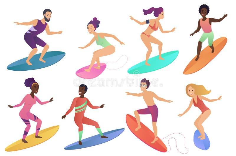 Prancha de montada dos povos do surfista ajustadas Homem e mulher que surfam na ilustração do vetor do mar ou do oceano ilustração royalty free