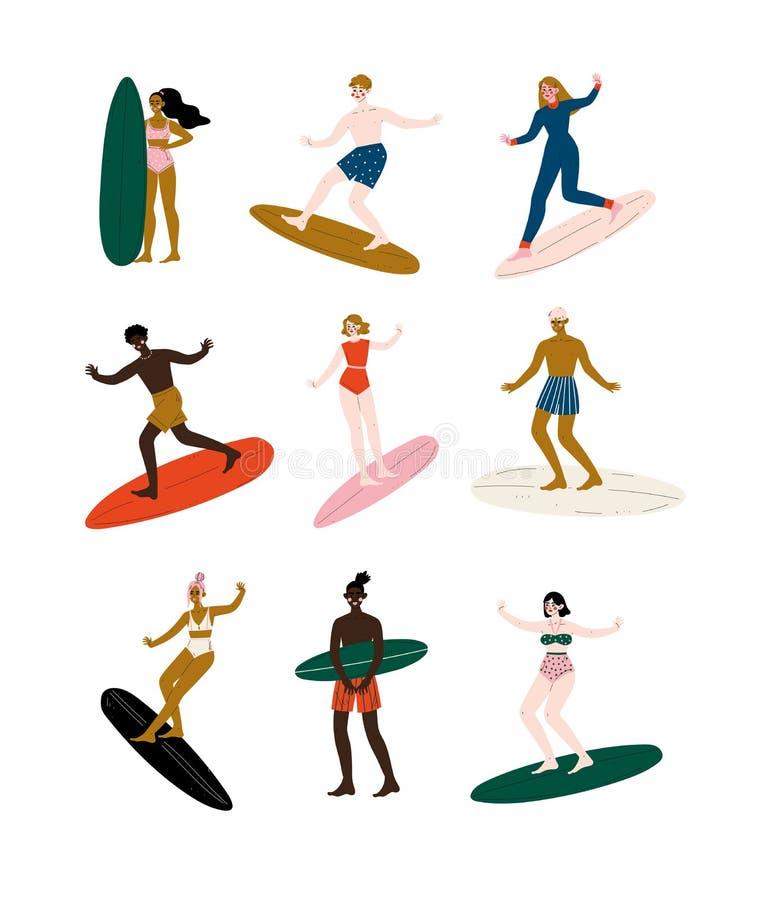 Prancha de montada grupo, homem e surfistas fêmeas dos povos apreciando férias de verão na ilustração do vetor do mar ou do ocean ilustração royalty free