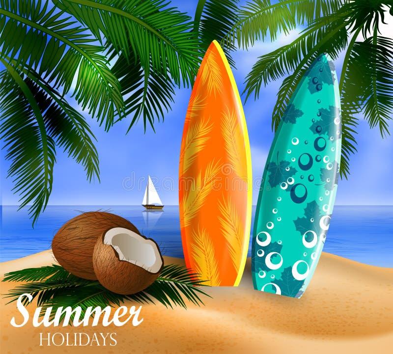 Prancha em uma praia contra um seascape ensolarado ilustração do vetor