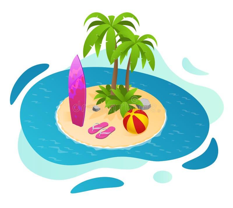 Prancha isométricas em uma ilha do paraíso com palmas verão com uma prancha, bola na praia ilustração do vetor