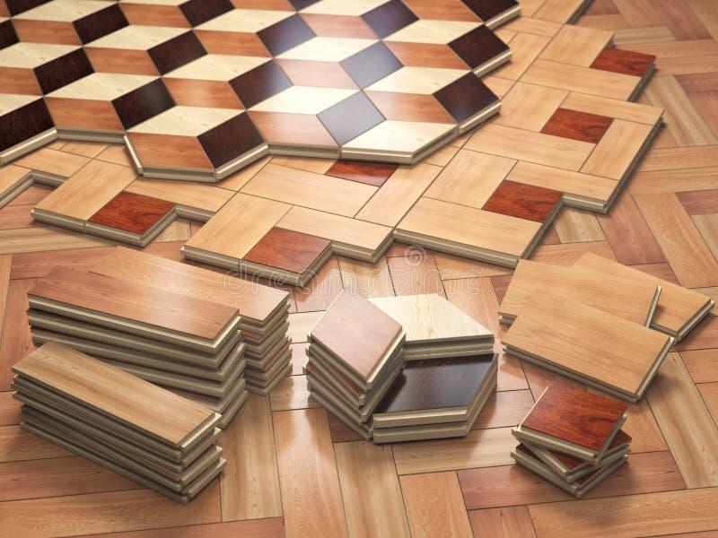 Pranchas de madeira do parquet do ofr da pilha Poucos tipos de coa de madeira do parquet ilustração do vetor
