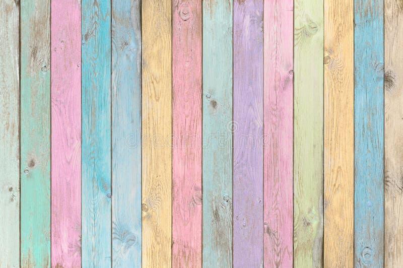 Pranchas de madeira pasteis coloridas textura ou fundo imagens de stock royalty free