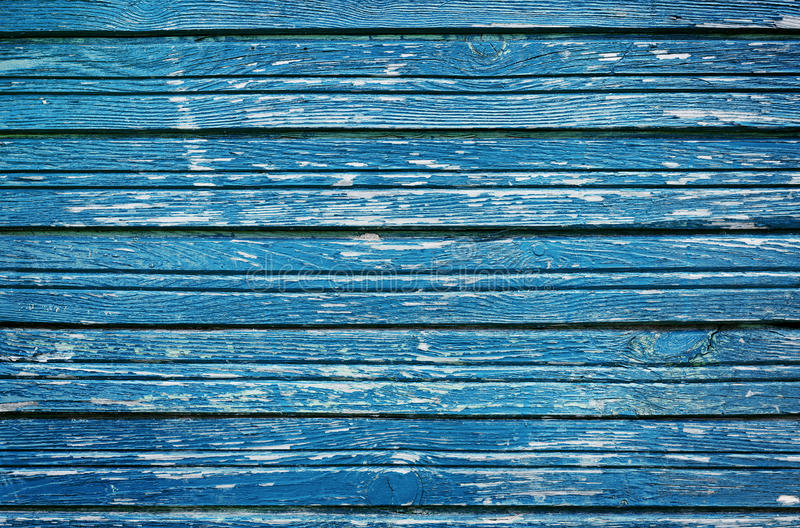 Pranchas de madeira rústicas velhas com pintura rachada azul, madeira da parede do vintage para o fundo foto de stock