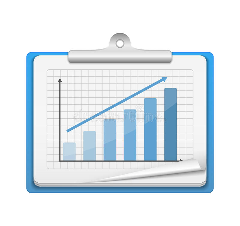 Prancheta com gráfico de barra ilustração stock