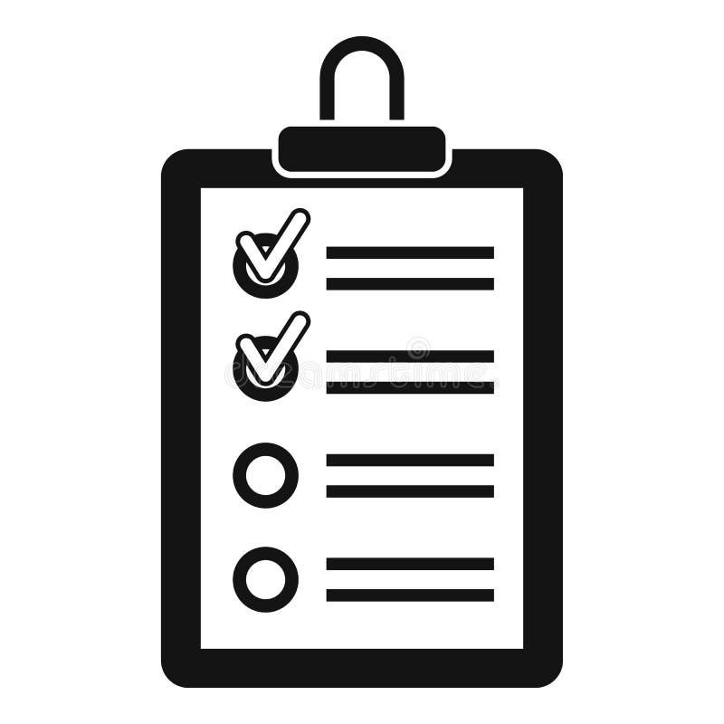 Prancheta com para fazer o ícone da lista, estilo simples ilustração royalty free
