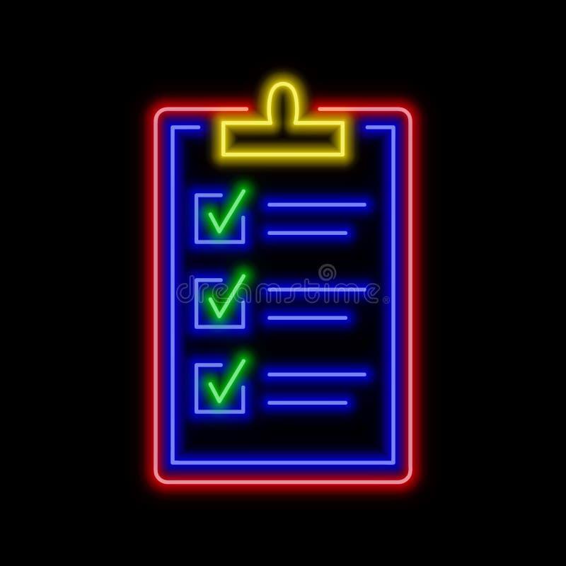Prancheta com todo o sinal de néon verificado das caixas Symbo de incandescência brilhante ilustração stock